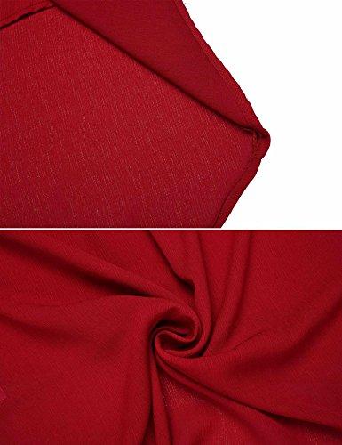 Meaneor Chemise Femme Casual 3/4 Manche Trompette Col V Asymétrique Croix Tops Rouge