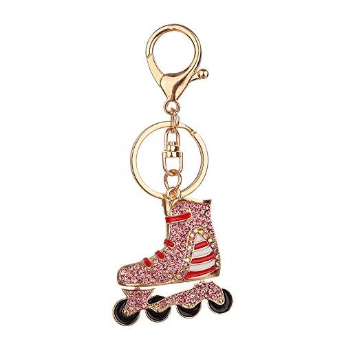 Yiwencult Damen Schlüsselanhänger, Glitzernd, Strasssteine, Rollschuh-Design Rose