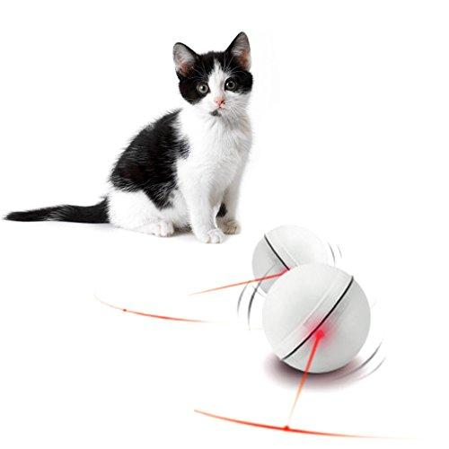 KatzenSpielzeug,Dairyshop Lustige Haustier Hund Katze LED Licht Magic Ball Teaser Übung interaktive automatische Spielzeug... (Weiß) Hund Ball Automatischer