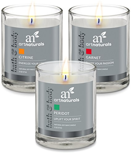 Price comparison product image ArtNaturals Scented Aromatherapy Candle Set – 3 Piece Gift Set of Fragrance Soy Wax - Made in USA with Essential Oils – for Stress Relief and Relaxation