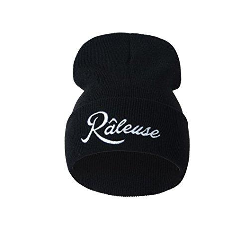 GreatestPAK Caps Unisex Men Woman Caps,Letter Embroidery, Fashion Keep Warm Wool Knitted Earmuffs Hats (Einheitsgröße, Schwarz) (Power-base-quad)