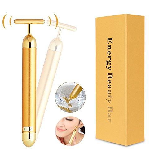 Risingmed 24K Golden Beauty Bar, Wasserdichte T-Form Gesicht, Heben Sie straffende elektrische Anti-Aging Pulse Massagegerät, Gesichtshaut straffen Roller Massagegerät für Stirn Wangen Hals,etc (24k-face-lift)