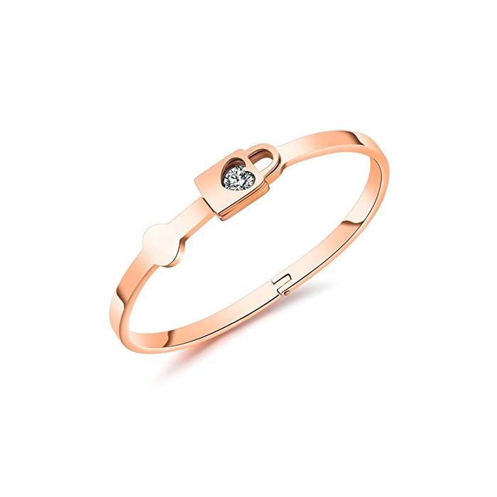 AmDxD Damen Armband Love Lock Roségold 17 cm