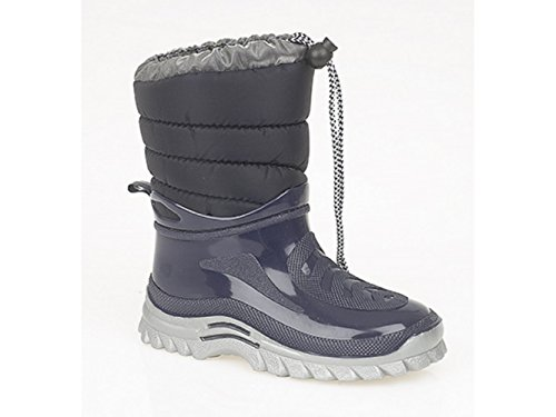 StormWells Francis Boys Kids chaud Wellington Boots Bleu Marine Bleu - Bleu marine
