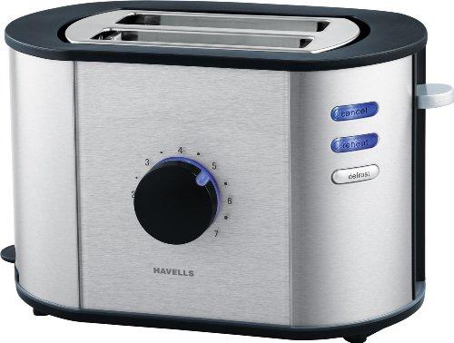 Havells Titania 870-watt Stainless Steel Pop-up Toaster (black)