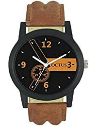 Octus New Collection Brown Leather Strap Analog Watch For Men And Boys