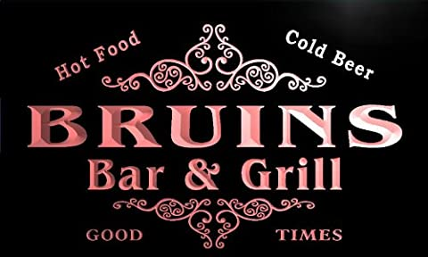u05733-r BRUINS Family Name Bar & Grill Cold Beer Neon Light Sign Enseigne Lumineuse