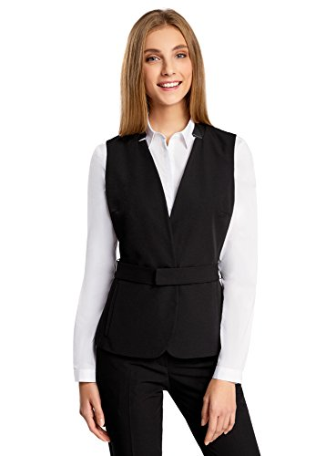 oodji Collection Women's Belted Vest with Faux Leather Details Test