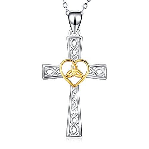 YFN-SilberKette-Poliert-Gold-Herz-Keltische-Knoten-Kreuz-Anhnger-Halskette-Schmuck-Damenmit-Geschenkbox18