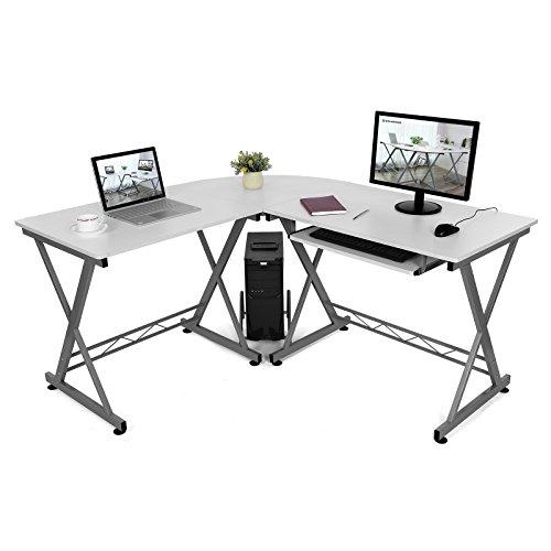 SONGMICS Escritorio de la Computadora con Portateclado Mesa de Ordenador Moderna Escritorio para Hogar o Oficina Blanco, 150 x 138 x 75 cm, LCD402W