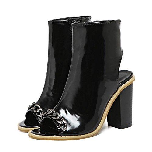 LvYuan-mxx Femmes sandales / printemps été / chaîne de mode poissons bouche chaussures / Confort Casual / Bureau & Carrière Robe / Talons hauts / Cool bottes BLACK-36