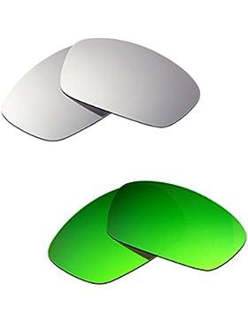 Hkuco Plus Mens Replacement Lenses For Oakley Hijinx Titanium/Emerald Green Sunglasses