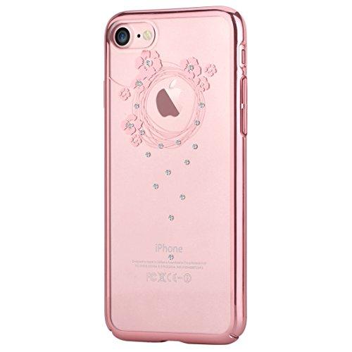 Iphone 7 case, devia [garland crystal series] original swarovski element hard [pc transparent] for apple iphone 7 (iphone 7, rose gold garland)