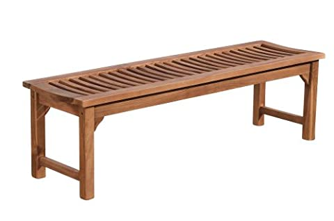 CLP Banc de jardin en bois de teck robuste HAVANA, sans dossier (5 tailles au choix) 150x45x45 cm
