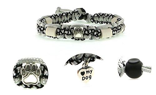 Zeckenschutzhalsband (26cm - 36cm) - EM Keramik Halsband Schutz gegen Zecken und Ungeziefer, 100 % Natur aus Paracord geknüpft mit stylischen Schmuckelementen, für Hunde und Katzen. Silber/sw Nr. 106
