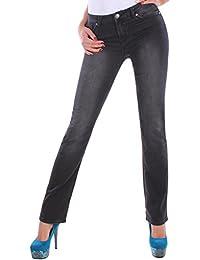 BD Damen Straight Leg Jeans Stretch Jeanshose gerader Schnitt schwarz bis Übergröße