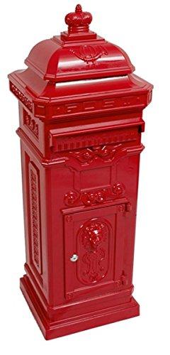 Casa Padrino Standbriefkasten Antik Jugendstil Mod6 Briefkasten Postkasten Alu - Rot - Säulenbriefkasten - Englischer Briefkasten