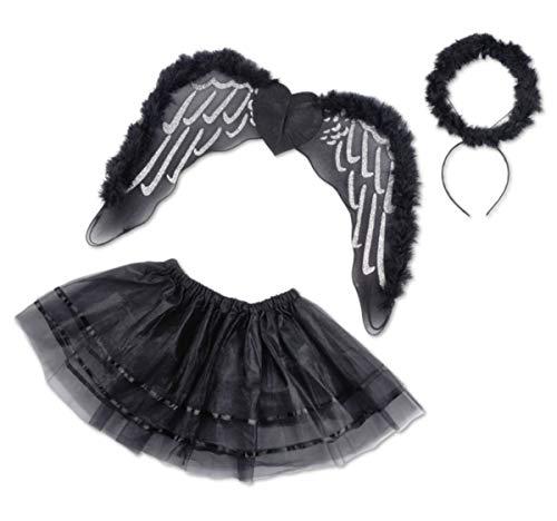 Kostüm Engel Flügel Zubehör - kaiser24 Mädchen Damen schwarzer Engel Flügel Kostüm 3tlg. Tutu Set Halloween