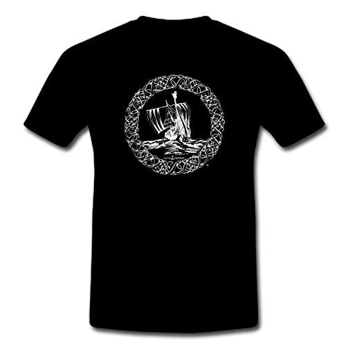 T-Shirt Viking Ship M-XXL, Schwarz, Large -