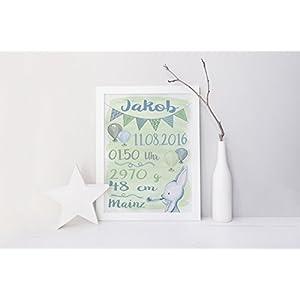 SomethingCute: Geburtsbild Design HASE WATERCOLOR/ Geschenk zur Geburt, zur Taufe, Taufgeschenk, Geburtsgeschenkt, Fine Art Print