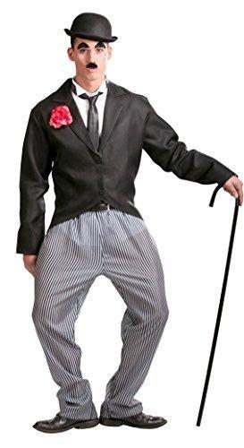 Herren 1920s Jahre Schauspieler Charlie Chaplin Promi Filmstar Maskenkostüm groß - Schwarz, Large (Charlie Chaplin Kostüm Kinder)