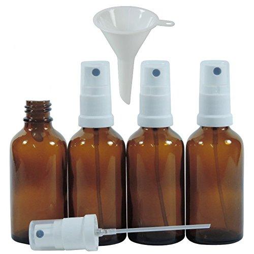 Viva per la casa - 4 X Farmacista di flacone Spray 50 ML in Vetro Marrone, Piccole Bottiglie di Vetro con Effetto atomizzatore - Made in Germany & Senza BPA (Incluso Un Imbuto Ø 5 cm)