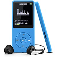 Reproductor MP3 8GB, Swees Reproductor de música sin pérdida de sonido 70 horas de autonomía con función Radio FM, Apoya Tarjeta de Memoria hasta 64GB, color Azul