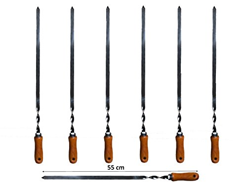 Preisvergleich Produktbild 7 x Grillspieße Schaschlikspieße Schampura Fleischspieße Edelstahl 550x10x2 mm mit Holzgriff