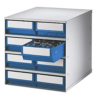 Lockweiler Schubladenmagazin, Gehäuse-Traglast 75 kg - HxBxT 395 x 380 x 400 mm, 8 Schubladen - Schubladen blau - Klarsichtmagazin Kleinteilemagazin Lagersystem Magazin Schubladenmagazin Schubladensystem