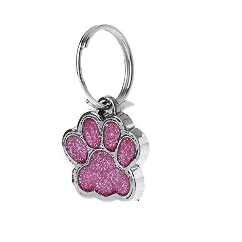 CADANIA Haustier-Kragen-Umbau-glänzender Glitter-Tatzen-Form-Haustier-Hundekatze-Identifikationstag Keychain mit Ring - Rose