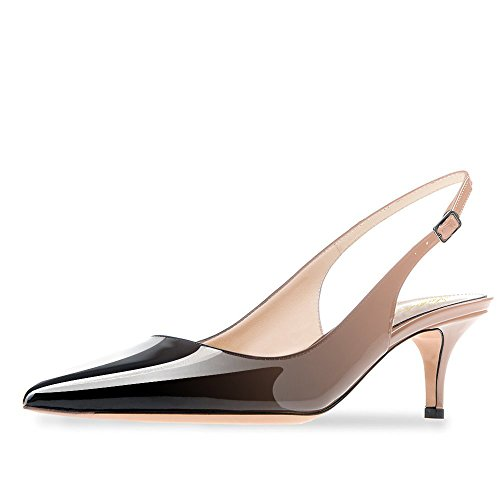 Lutalica Frauen Kitten Heel Spitze Patent Slingback Kleid Pumps Schuhe für Party Patent Nackt-Schwarz Größe 39 EU (Heels Womens Kleid High Schuhe)