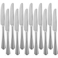 AmazonBasics – Cuchillos de mesa de acero inoxidable con borde ondulado, juego de 12