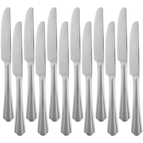 AmazonBasics - Cuchillos de mesa de acero inoxidable con borde ondulado, juego de 12