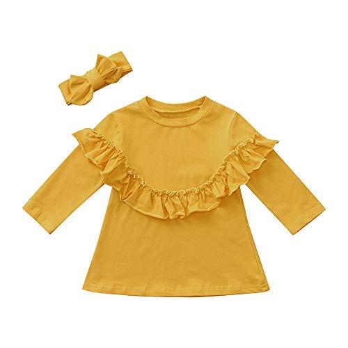 Kleinkind Baby Mädchen mit Langen Ärmeln Rüschen Top + Stirnband Outfit Kid Set Kleidung