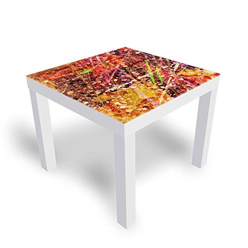 DekoGlas IKEA Lack Beistelltisch Couchtisch \'Hutständer\' Sofatisch mit Motiv Glasplatte Kaffee-Tisch, 55x55x45 cm Weiß