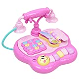 KESOTO Antico Telefono Giocattolo Simulazione Organo Elettronico con Canzoni, Poesie, Storie, Regalo di Compleanno per Bambino - Rosa