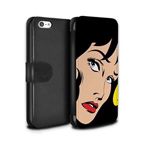 Stuff4 Coque/Etui/Housse Cuir PU Case/Cover pour Apple iPhone 5C / Pack 5pcs Design / BD Illustrés Filles Collection Cheveux Noirs