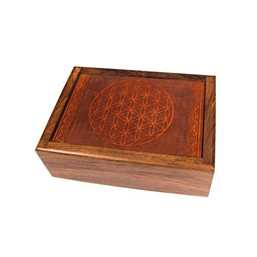 lillybox Schatulle Kästchen Schmuckkästchen Tarotdose aus Holz mit geschnitztem Blume des Lebens Handgemacht
