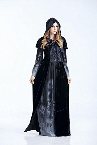 Vampir Kostüm Erwachsene Weibliche Für - WLM Erwachsenes Weibliches Göttinkleid Halloweens, Vampir Cosplay Kostüm, Stab DS Stadiumskostüm,Schwarz,S
