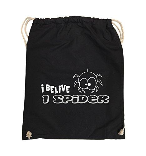 Comedy Bags - I BELIEVE I SPIDER - Turnbeutel - 37x46cm - Farbe: Schwarz / Silber Schwarz / Silber