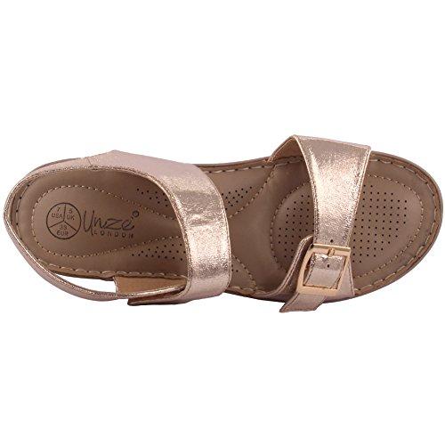 Unze Le nuove donne Ladies 'Calie' casuale con fibbie confortevole estate dei sandali calza il formato 3-8 Oro