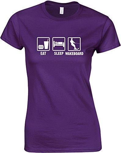 Eat Sleep Wakeboard, Gedruckt Frauen T-Shirt - Lila/Weiß 2XL = 98-102cm