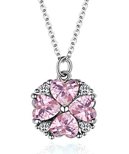 Quadiva g! collana da donna con ciondolo a forma di cuore e quadrifoglio (colore: oro bianco/rosa rosa) decorata con cristalli swarovski®