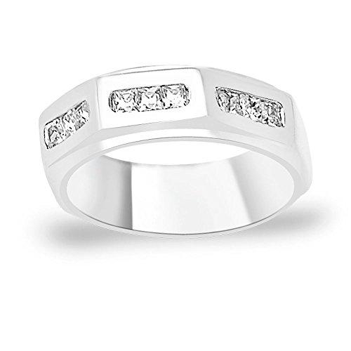 Taraash Band style White CZ 925 Sterling Silver Finger Ring For Men FR1344R9