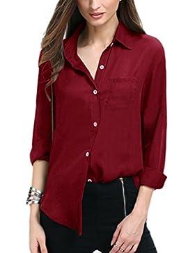 Camisa de mujer Manga larga Casual Blusa Tops Camiseta De La Gasa Túnica Camisa Manga 3/4 Tamaño Grande