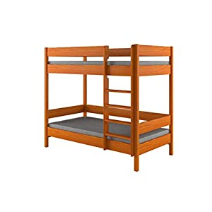 Children's Beds Home Bunk Beds - Kids Children Juniors Single with 2 Foam - Coconut Mattress but No Drawers Included (200x90, Alder)   1
