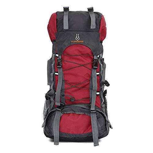WEIWEITOE-DE 60L Große Kapazität Outdoor Sports Bergsteigen Rucksack Internen Rahmen Wandern Camping Trekking wasserdichte Umhängetaschen, Rot, -
