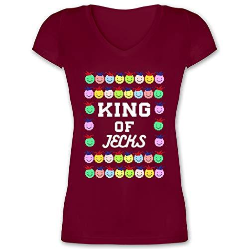 Karneval & Fasching - King of Jecks - L - Bordeauxrot - XO1525 - Damen T-Shirt mit ()