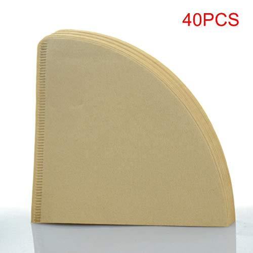 40 Stück konische Form Originals Holz Tropfen Kaffee Filter Papier Natur Braun Papier Sanduhrtopf...