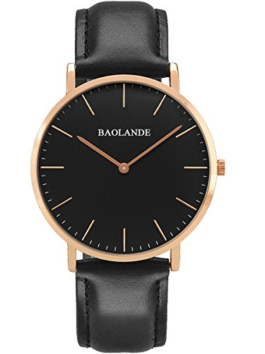 Alienwork Classic St.Mawes Quarz Armbanduhr elegant Quarzuhr Uhr modisch Zeitloses Design klassisch rose gold schwarz Leder U04814L-02